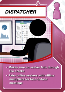 Dispatcher: Makes sure no seeker falls through the cracks and pairs online seekers with offline multipliers for face-to-face meetings.