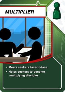 Meets seekers face-to-face and helps seekers to become multiplying disciples
